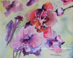 Orchids Watercolor Print  Set of 8 by GiftsByCarolFrances on Etsy, $29.00