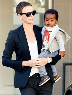 Charlize Theron and her son, Jackson get ready to celebrate his first birthday January, 2013.
