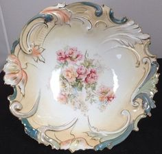 "RS Prussia Bowl Gaston Pg. 266 Mold #402 10"" Scroll/Floral Pearl Lustre Unmarked #RSPrussia"
