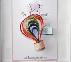 Rainbow Hot Air Balloon Ribbon Sculpture Bow.  Free Ship Promo.