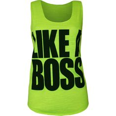 Angie Like A Boss Vest Top ($9.44) ❤ liked on Polyvore featuring tops, green, neon tops, print top, sleeveless tops, neon green top and sleeveless tank tops