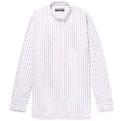 Balenciaga Oversized Button-Down Collar Striped Cotton-Poplin Shirt (9.346.360 IDR) ❤ liked on Polyvore featuring men's fashion, men's clothing, men's shirts, men's casual shirts, mens stripe shirts, mens button down collar shirts, balenciaga mens shirts and men's cotton poplin shirts