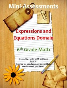 6th grade math:  260 problems and 120 pages of mini-assessments covering every concept of every standard of the Expressions and Equations Domain in the sixth grade common core.  There are two versions for each concept.  Use these as a review, pre/post test, task cards, remediation, and as part of the RtI model.