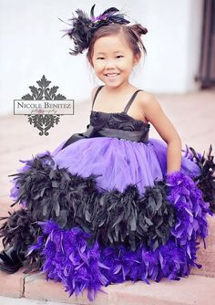 Black Purple Rosette Double Layer Feather Girls Dress. Would love to see Ellie in a dress like this when she gets older!