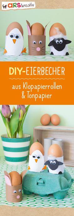 Eins, Zwei, Osterei – Kreative Eierbecher-Bastelei zu Ostern. Schnappt euch Klorollen und Tonpapier und schon kann es losgehen. #Bastelanleitung auf #arskreativ #DIY