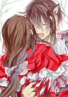 Anime Red Riding Hood and Wolf Love Anime Wolf, Red Riding Hood Wolf, Red Ridding Hood, Sad Anime, Kawaii Anime, Anime Guys, Art Manga, Manga Anime, Manga Japan