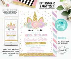 Pink Willow Deer Girl Cupcake Toppers Party Favor Tags Editable PDF