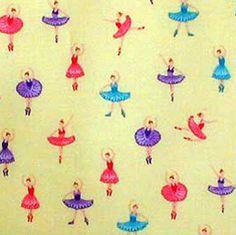 ballerina print cotton fabric  yardage  Robert by bagsandmore (Craft Supplies & Tools, Fabric, material, yardage, cotton, cotton print, sewing, quilt, designer fabric, toe shoes, ballerina, ballet, mini delights, robert kaufman, tutu)