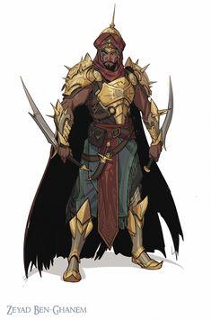 Cloaked Saber Karamaga assassin works for the Sultan ArtStation - Zaid Ben-Ghanem, ahmed maihope Fantasy Character Design, Character Design Inspiration, Character Concept, Character Art, Fantasy Armor, Medieval Fantasy, Dark Fantasy, Fantasy Male, Dnd Characters