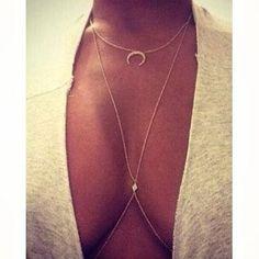 Boho chic Body jewelry Zircon Gold Bodychain#516130