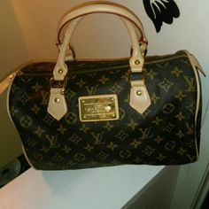 """Monogram Gold Plate Logo Fashion Speedy Bag *No trades, no holds. Beautiful faux leather bag in excellent condition, appears unused. Only visible flaw is some minor wrinkles in straps, does not impact function. Measuring 12.5"""" across and 8"""" tall. Nice medium sized bag. Not real, fashion copy. Bags Satchels"""