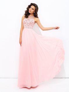 A-Line/Princess Jewel Chiffon Floor-Length Dress With Pleats Beading - MissyDress