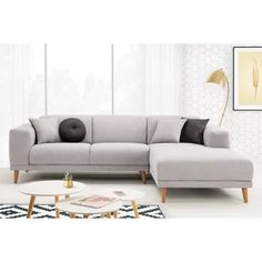 MARIUS Canapé d'angle droit fixe 5 places - Tissu gris - Scandinave - L 265 x P 183 cm - Achat / Vente canapé - sofa - divan - Cdiscount