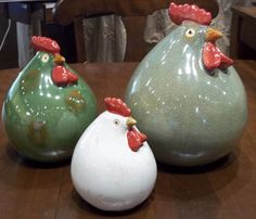 Ceramic Hens  $82.00 for set of 3  Artis Home Gallerie. 5525 Mills Civic Parkway, West Des Moines  ArtisHomeGallerie.com Iowa, Ceramic Chicken, Rooster Decor, Hens, Accent Pieces, Country Decor, Pottery Art, Christmas Bulbs, Summer