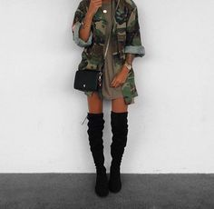 Goals. Pretty. Skinny. Camo jacket. Thigh high boots. Tshirt dress.