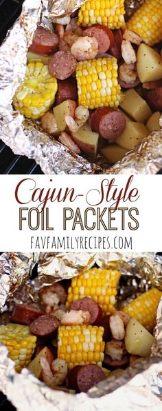 Cajun Grill Foil Packets - These tin foil dinners are SUPER easy and they don't heat up your house in the summertime! Filled with sausage, shrimp, potatoes, and corn, it is a dinner your whole family will love. Also a perfect dinner for camping!  Find all our yummy pins at https://www.pinterest.com/favfamilyrecipz/