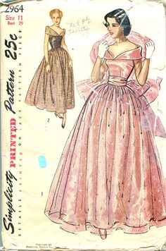 1940s Evening Dress gown pink tan full skirt off shoulder formal prom Pattern Simplicity 2964 Junior Wedding Bridal Full Skirt Formal Gown Bust 29 Womens Vintage Sewing Pattern -costume concept for young queen.