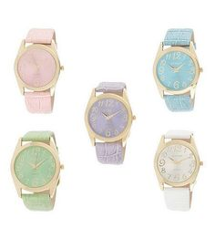 Pastel Watches! SO CUTE. I want the blue or green one!