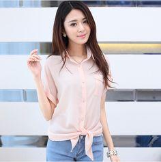 S~XXL Women Blouses 2014 Sweet Bowknot Lacing Loose Chiffon Blouse Pink Yellow And White Blouse Plus Size Women Shirt $13.73