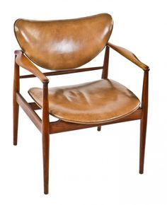 all original c. american century danish modern solid walnut four-legged upholstered side chair salvaged from a chicago foundry boardroom Baker Furniture, Retro Furniture, Furniture Design, Danish Modern Furniture, Mid Century Modern Furniture, Interiors Magazine, Leather Dining Chairs, Take A Seat, Mid Century Design