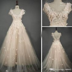 2014 Luxury Blush Tulle Wedding Dresses Bridal Gowns Beaded Lace Feather 3D Flower Cap Sleeve Chapel Train Wedding Gowns WJ091621, $235.48 | DHgate.com