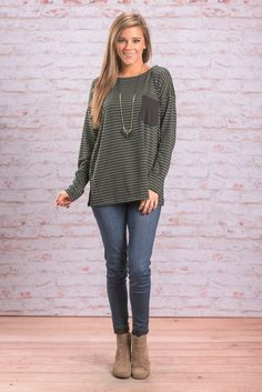 """""""Perfect Form Top, Olive"""" This casual top has perfect form! It's trendy yet casual and comfy yet adorable! The olive green and black look great together!  #newarrivals #shopthemint"""