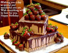Chocolate tiered cake with chocolate dipped strawberries. Would make a great grooms cake Chocolate Cake Pictures, Chocolate Drip Cake, Chocolate Strawberry Cake, Strawberry Cakes, Chocolate Dipped, Chocolate Strawberries, Happy Birthday Chocolate Cake, Happy Birthday Cake Images, Birthday Chocolates