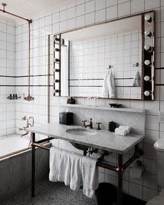the ludlow hotel Bathroom Interior Design, Interior Decorating, Ludlow Hotel, Home Luxury, Scandinavian Style Home, Art Deco Bathroom, Victorian Bathroom, Apartment Design, Bathroom Inspiration