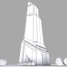 mercury city tower scyscraper 3d model