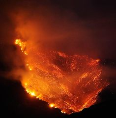 California mountain forest fire