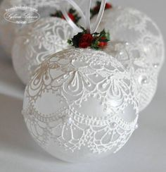 Make the most beautifully handmade Christmas lace ornaments for a more nostalgic note in the home's Christmas decorations during the holidays. Christmas Ornaments To Make, Homemade Christmas, Christmas Holidays, Victorian Christmas Ornaments, Christmas Vacation, Christmas Mantles, Glass Christmas Tree Ornaments, Silver Christmas, Crochet Christmas