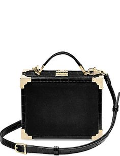 ASPINAL OF LONDON Trunk velvet and leather clutch bag