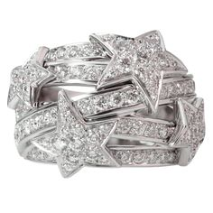 CHANEL Comet Diamond Stars White Gold Dome Ring