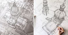 These Freehand Architectural Sketches Show A University Student's Incredible Progress | Bored Panda