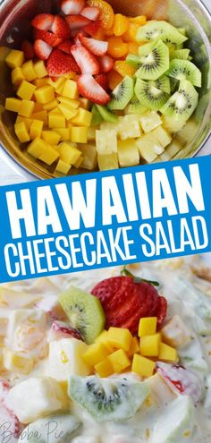 This easy Hawaiian Cheesecake Salad Recipe is a delicious dessert recipe that mixes exotic tropical fruit with a delicious creamy cheesecake filling. Hawaiian Cheesecake Salad Recipe, Hawaiian Dessert Recipes, Cheesecake Fruit Salad, Pinapple Salad, Hawaiian Fruit Salad, Mango Salad, Hawaiian Luau, Kiwi Recipes, Fruit Salad Recipes