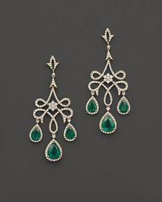 Bloomingdale's Emerald and Diamond Chandelier Earrings in 14K Yellow Gold on…
