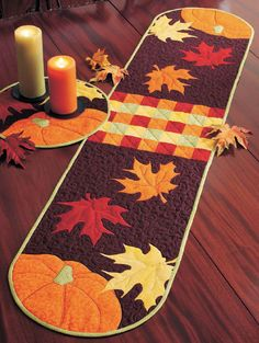 Autumn Leaves Table Runner and Placemat Digital by FonsPorterEtsy