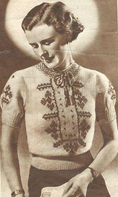 The Vintage Pattern Files: Free 1930s Knitting Pattern - Women's Hungarian Jumper