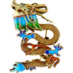 Get ready for the New Year with this Vintage Chinese Export Dragon Brooch from 2Hearts Uptown Jewelry & Accessories on Ruby Lane.