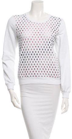 Carven Hemstitch Molton Sweatshirt Carven, Hoodies, Sweatshirts, Polka Dot Top, Crew Neck, Stylish, Long Sleeve, Sleeves, Tops