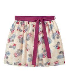 Cream & Purple Feather Skirt - Girls #zulily #zulilyfinds