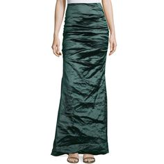 Nicole Miller Techno Metal Mermaid Skirt ($165) ❤ liked on Polyvore featuring skirts, cava, high waisted mermaid skirt, ruched skirt, high rise skirts, green skirt and high waisted knee length skirt