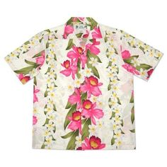 9583cd498 Its full beauty shown on a vertical pattern, repeated on the back of this  Hawaiian rayon shirt. The Orchid Play aloha ...