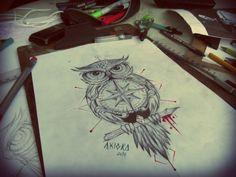 coruja com rosa dos ventos artista Akioka owl compass artist by Akioka