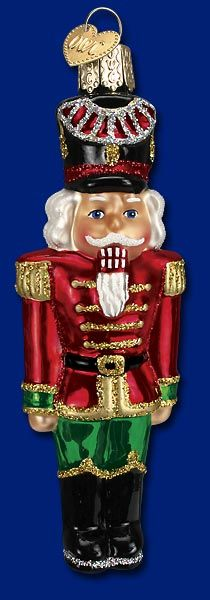 BLOWN GLASS NUTCRACKER CHRISTMAS~HOLIDAY ORNAMENT WITH GLITTER~NWT