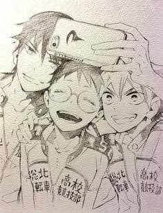 Yowamushi Pedal - Imaizumi, Onoda and Naruko Anime Drawings Sketches, Anime Sketch, Art Drawings, Art Anime, Manga Art, Manga Anime, Anime Poses Reference, Art Reference, Character Art