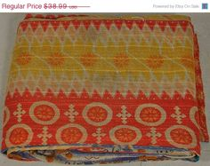 Vintage Throw Kantha Quilt N Ethnic Ralli Quilt Reversible Gudri Bedspread bohemian Bedding Hand-stitched Tropical Quilt  from old Sarees