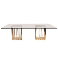 """dining table(s) circa early 1970's. These examples have grid like forms and fold up. They can be used together as one large dining table or individually. As pictured, the glass on the large table measures nearly 8' long and 42"""" square individually. Price listed is per base."""