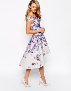 Image 4 of True Violet Printed Off Shoulder Prom Dress With High Low Hem