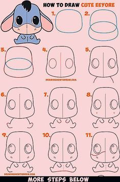 How to Draw a Cute Chibi / Kawaii Eeyore Easy Step by Step Drawing Tutorial for Kids Beginners &; How to Draw a Cute Chibi / Kawaii Eeyore Easy Step by Step Drawing Tutorial for Kids Beginners &; Easy Disney Drawings, Easy Doodles Drawings, Easy Doodle Art, Simple Doodles, Art Drawings Sketches Simple, Kawaii Drawings, Easy Art, Pencil Drawings, Easy To Draw Disney